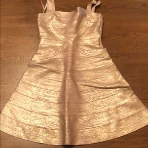 Herve Leger gold lame fit and flare dress